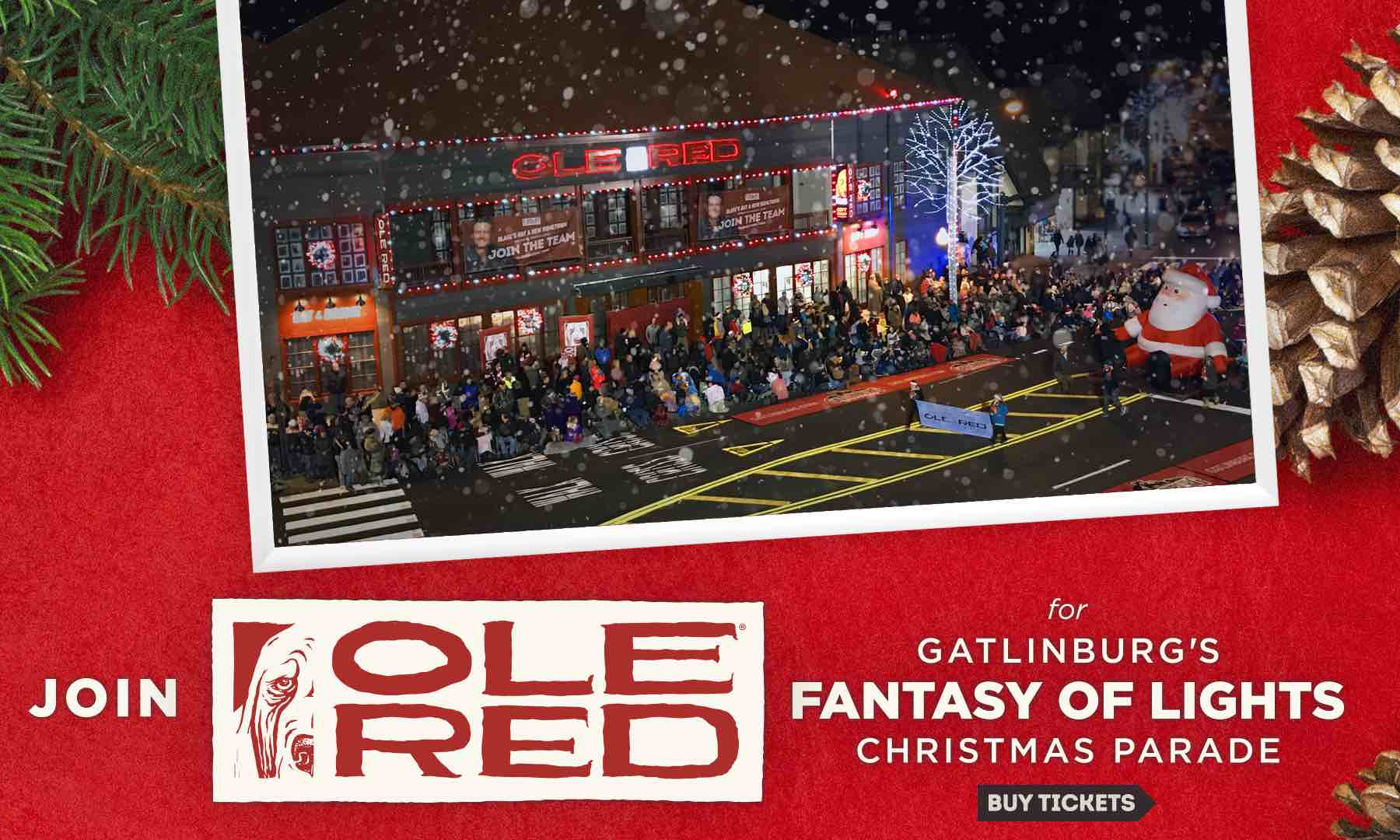 Join Ole Red for Gatlinburg's Fantasy of Lights Christmas Parade - Buy Tickets