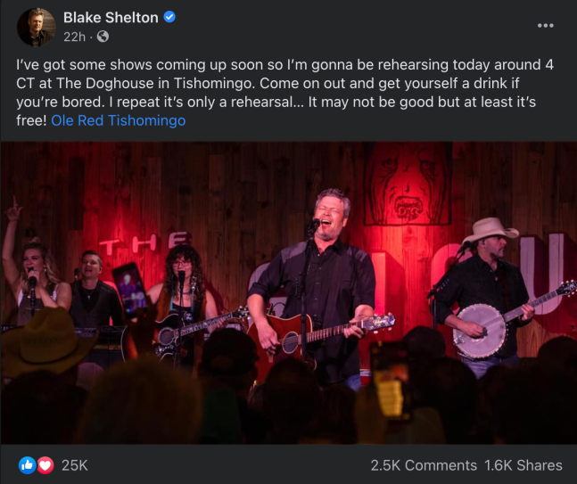 Blake Shelton Surprise FB Post